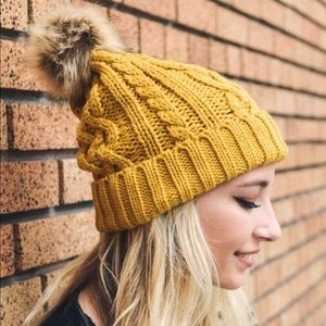 Yellow Pom Pom Vegan Friendly Winter Beanie OS